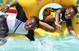 The water park was one of many fun activities at summer camp last year.