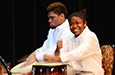Alexis Strothers Egleston and Hermani Mesilien play the drums.