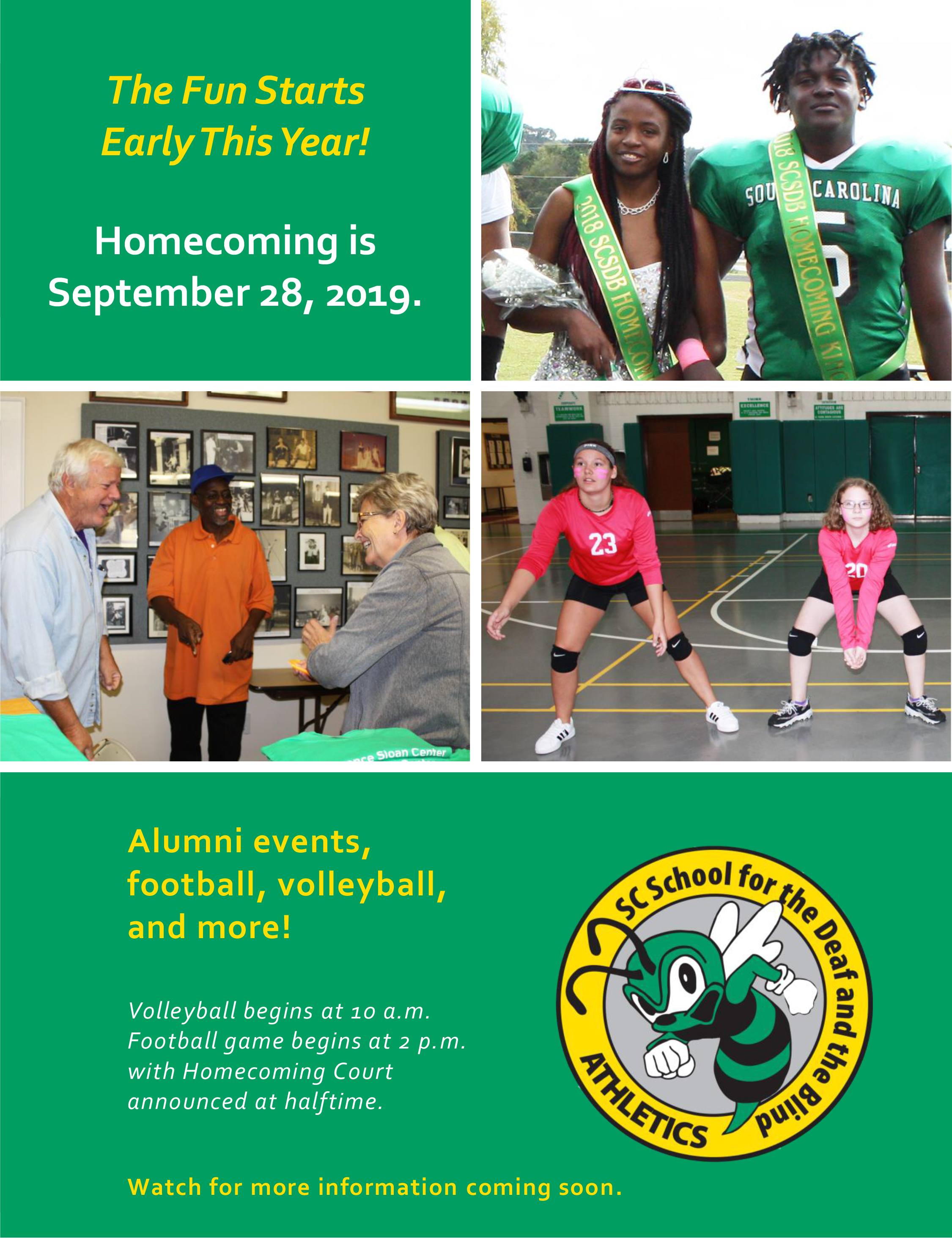The Fun Starts Early This Year! Homecoming is September 28, 2019. Read more immediately below the flyer.