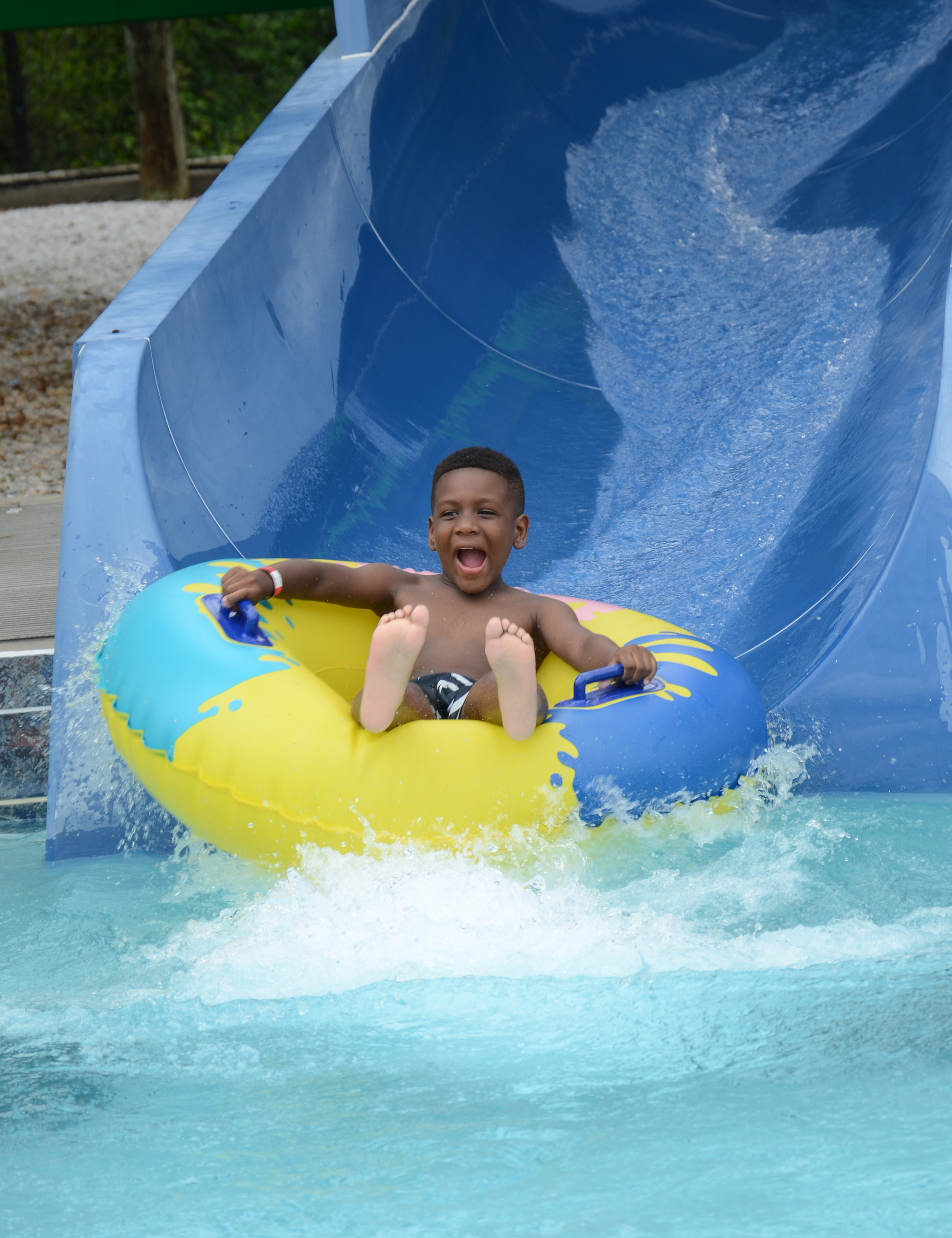 Ahhh! Campers enjoyed the water slide at the water park.