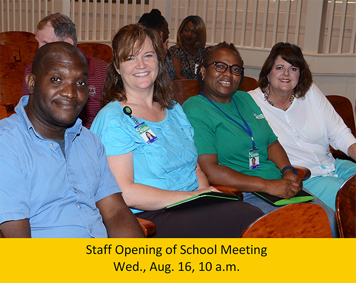 Nigel Fletcher, Sherry Hulsey, Banwo Rabiu, and Melanie Ward wait for last year's meeting to begin.