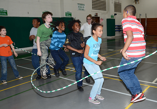 Students jump rope to raise contributions for the American Heart Association.