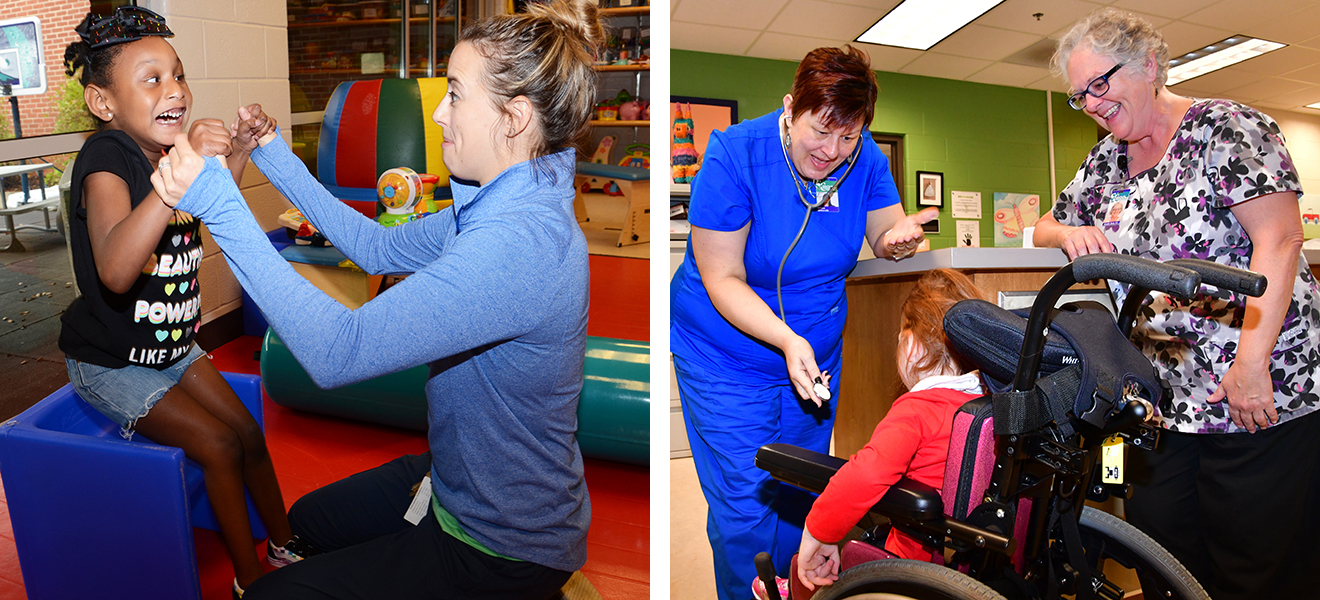 Photo One: Trinity Wilkins pulls up to a standing position with the help of physical therapist Kaylor Stief. Photo Two: Nurses DD Jackson and Merri Revan talk with a student in the Health Center.