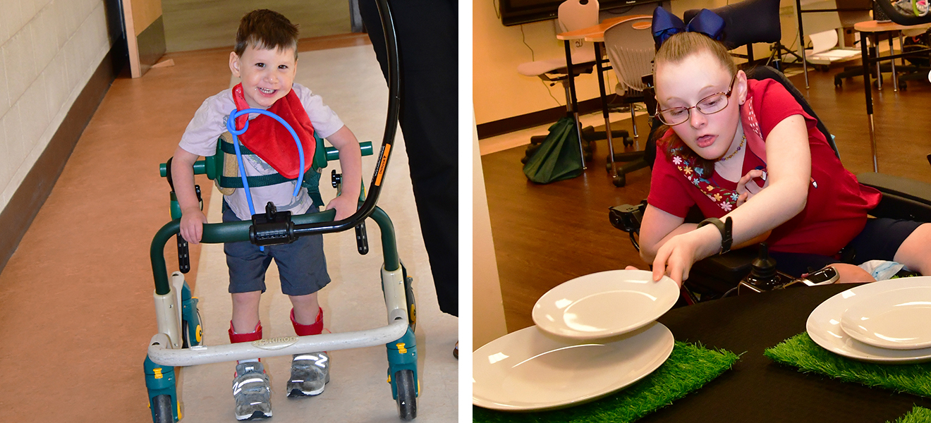 Photo One: Corey Bruce practices walking in his gait trainer for physical therapy. Photo Two: Katina Hensley sets the table.