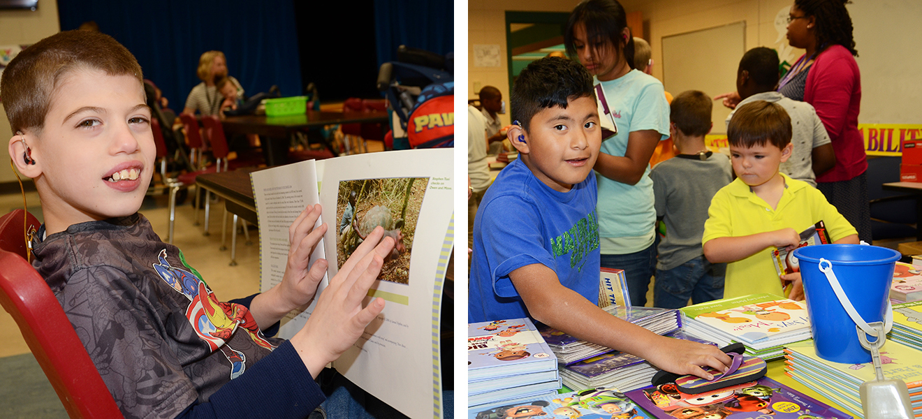 Photo One: Nikolai Madden reads a book during a library program at Cedar Springs Academy. Photo Two: Jonathan Perez-Gomez and Cohen Johnson pick out books at the library's summer reading event.