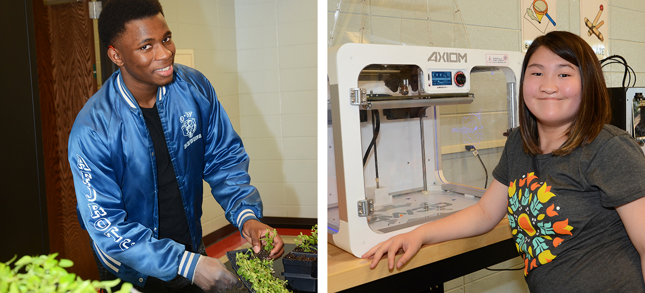 Photo One: Cole Heyward works with plants in horticulture class. Photo Two: Ava Raleigh shows off one of the 3D printers in the Applied Academic Center.
