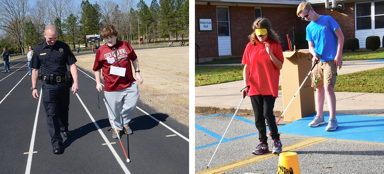 Photo One: Brian Starkey and a police officer walk the school track. Photo Two: Faith Miller and Gavin Pressley practice their Orientation and Mobility skills.