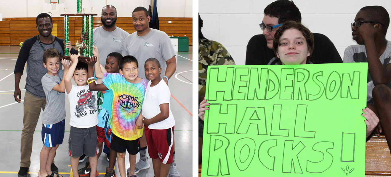 "Photo One: Residential students show off their trophy at the annual dorm wars event. Photo Two: Paige Austin holds a bright green sign reading ""Henderson Hall Rocks."""