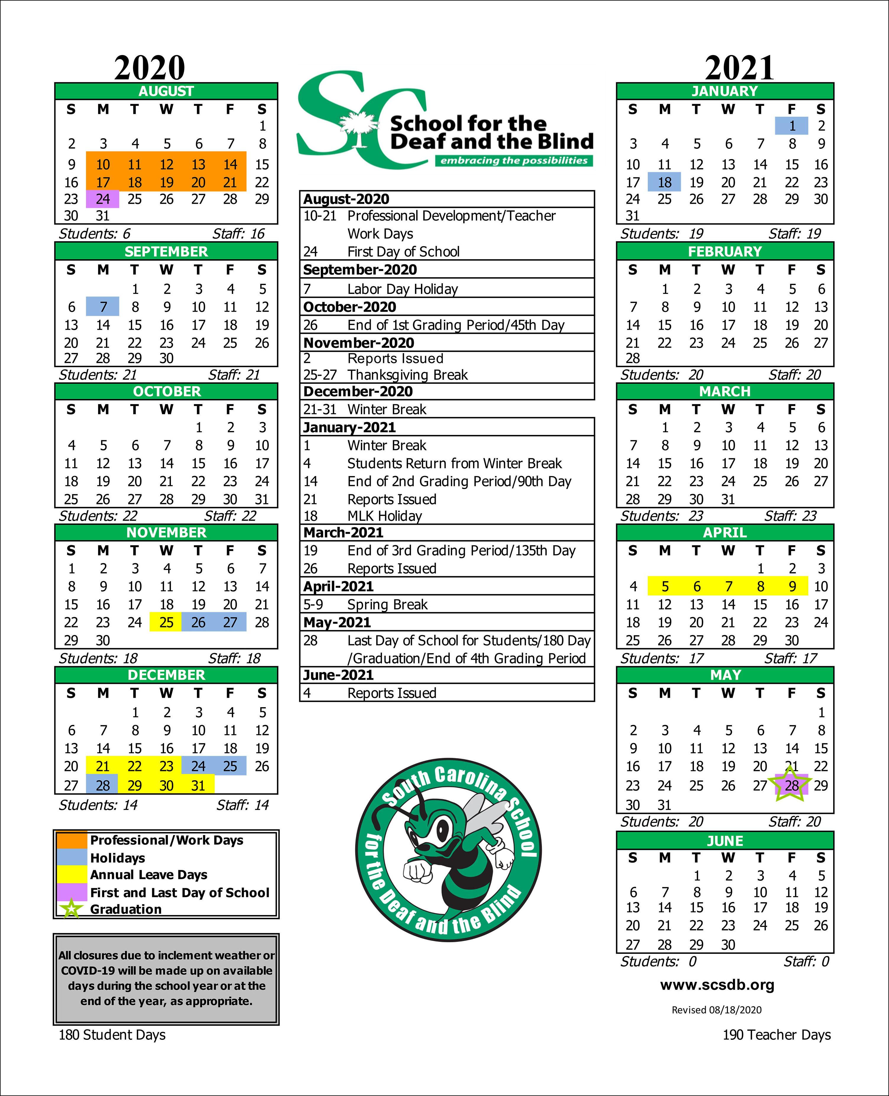 Columbia Academic Calendar 2022.Calendars Academic Calendar 2020 2021