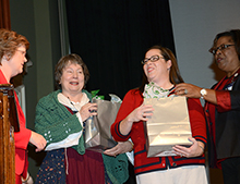 Maggie Park and Sara Kollock presented appreciation gifts to Sheila Ingle and Kay Melba.