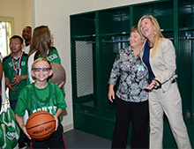 Former Athletic Director Kim Speer and Foundation Director Ann Akerman celebrated with the students during the tour.
