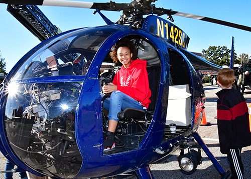 Students check out a police helicopter.