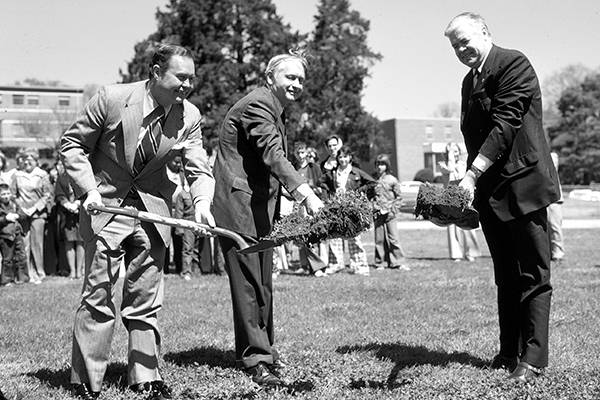 Groundbreaking for Herbert Center, 1976
